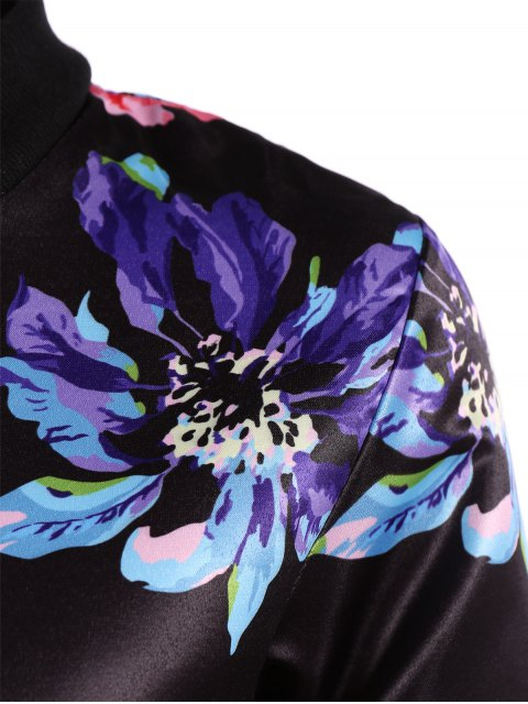 hot Zippered Floral Bomber Jacket - BLACK S Mobile
