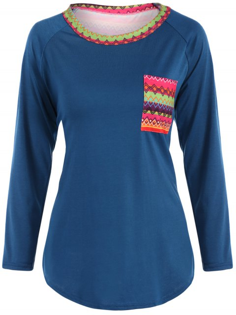 online Pocket Round Neck Printed Tunic T-Shirt - LAKE BLUE L Mobile