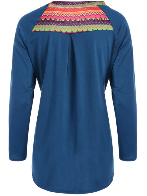 new Pocket Round Neck Printed Tunic T-Shirt - LAKE BLUE M Mobile