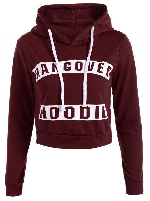 chic Hangover Cropped Hoodie - BURGUNDY L Mobile