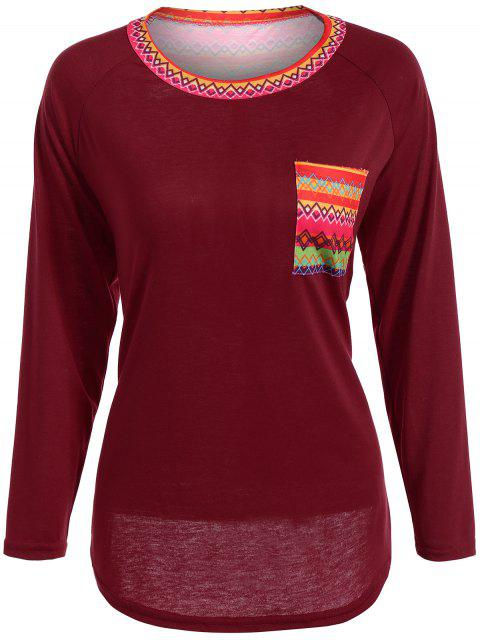shop Pocket Round Neck Printed Tunic T-Shirt - RED M Mobile