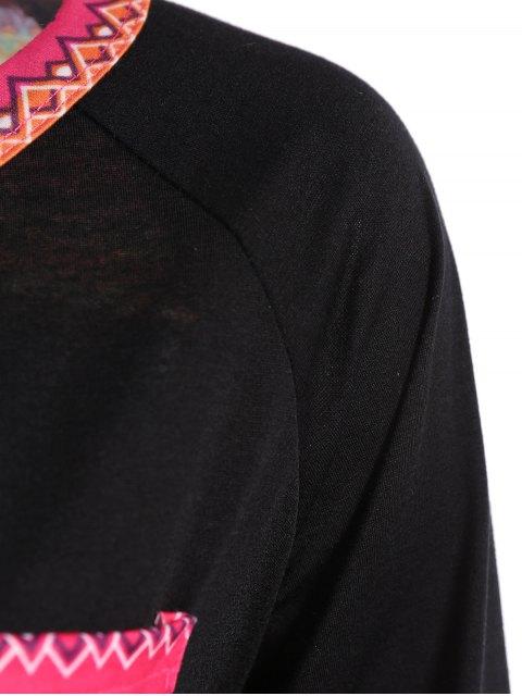 shop Pocket Round Neck Printed Tunic T-Shirt - BLACK M Mobile