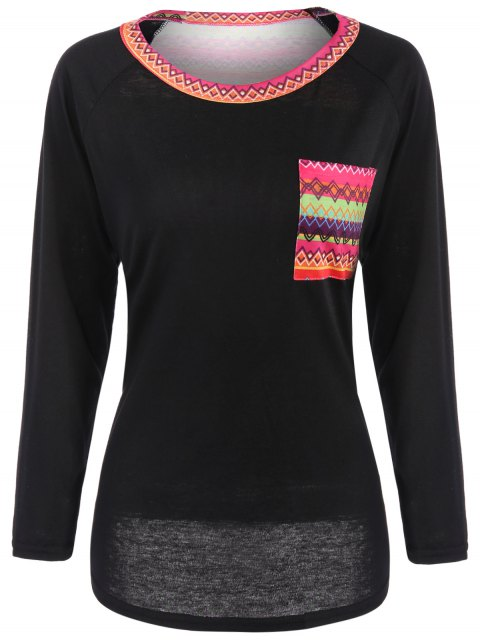 shop Pocket Round Neck Printed Tunic T-Shirt - BLACK M Mobile