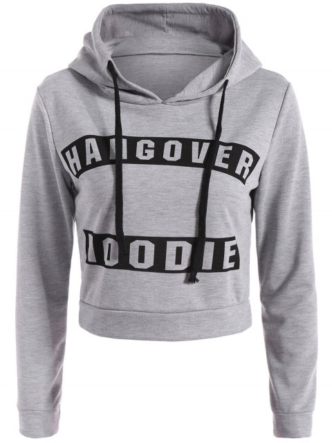 fancy Hangover Cropped Hoodie - GRAY M Mobile