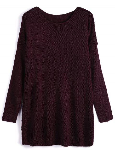 latest Dropped Shoulder Oversized Sweater - WINE RED L Mobile