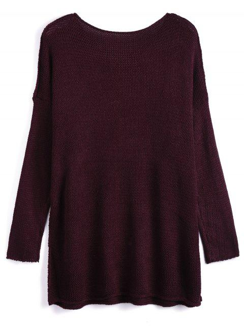 shops Dropped Shoulder Oversized Sweater - WINE RED XL Mobile