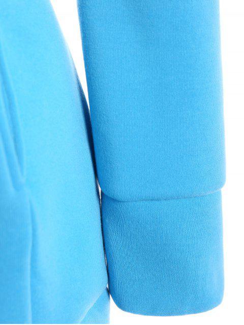 sale High Neck Drawstring Hoodie - BLUE M Mobile
