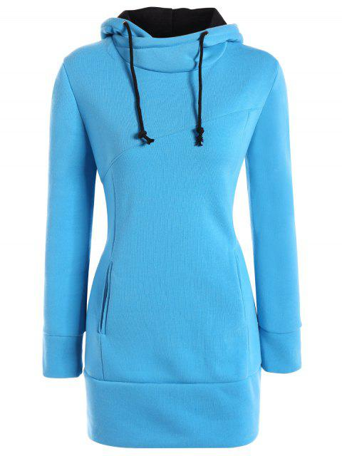 affordable High Neck Drawstring Hoodie - BLUE S Mobile