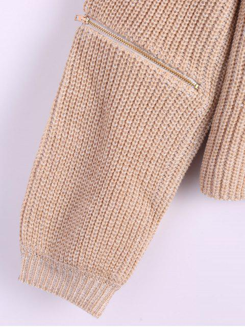 buy Zipper Cutout V Neck Sweater - KHAKI ONE SIZE Mobile