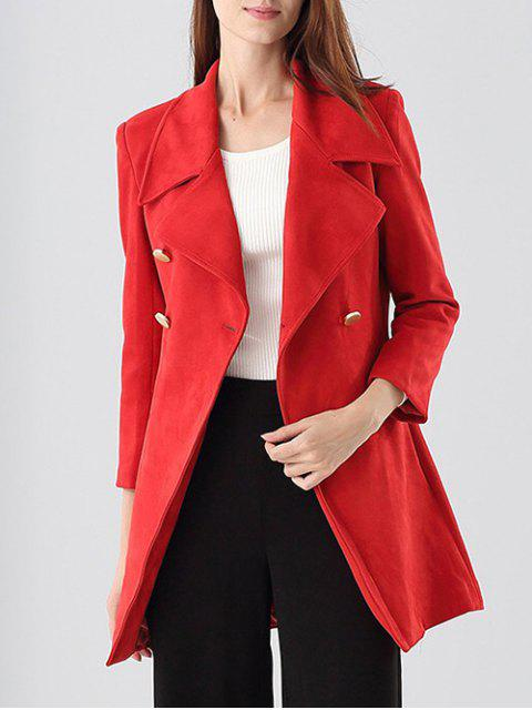 affordable Double-Breasted Faux Suede Coat - RED L Mobile
