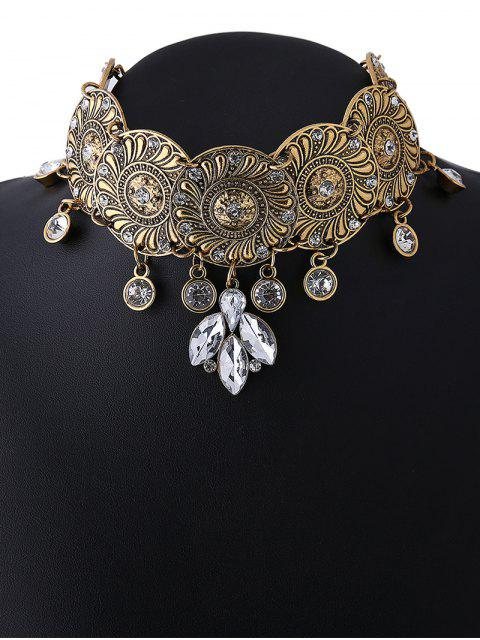 chic Faux Crystal Flower Choker Necklace - GOLDEN  Mobile