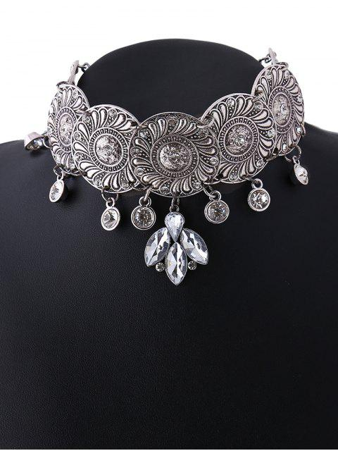 fancy Faux Crystal Flower Choker Necklace - SILVER  Mobile