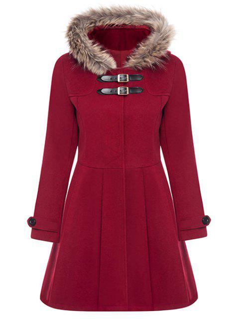 outfit A Line Wool Blend Hooded Coat - RED L Mobile