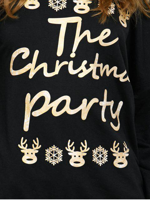 women Elk Print Skew Neck Christmas Sweatshirt - BLACK S Mobile