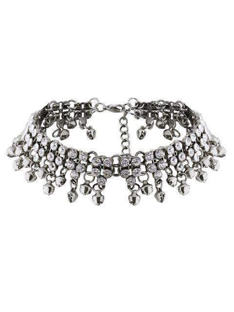 affordable Jingle Bell Tassel Faux Crystal Necklace - SILVER  Mobile