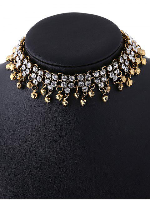 womens Jingle Bell Tassel Faux Crystal Necklace -   Mobile