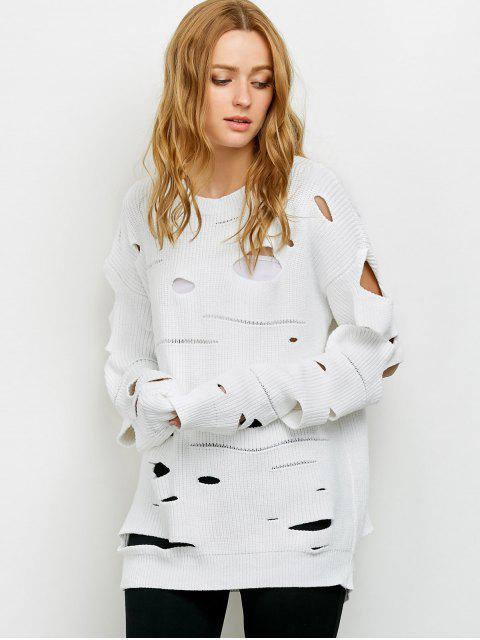lady Cut Out Crew Neck Sweater - WHITE XL Mobile