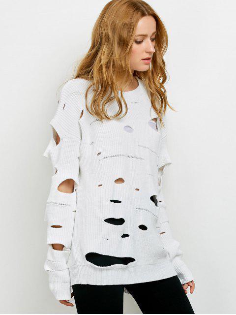 カットアウトクルーネックセーター - 白 2XL Mobile