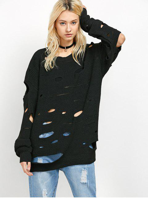 outfits Cut Out Crew Neck Sweater - BLACK M Mobile