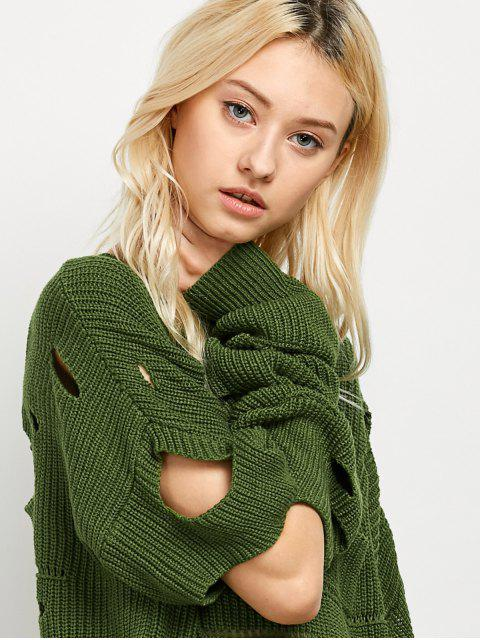shop Cut Out Crew Neck Sweater - GREEN 2XL Mobile