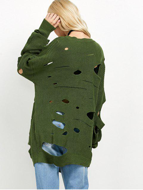 latest Cut Out Crew Neck Sweater - GREEN L Mobile