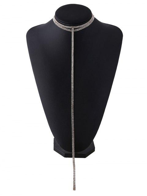 women's Tassel Fake Crystal Choker Necklace - GOLDEN  Mobile