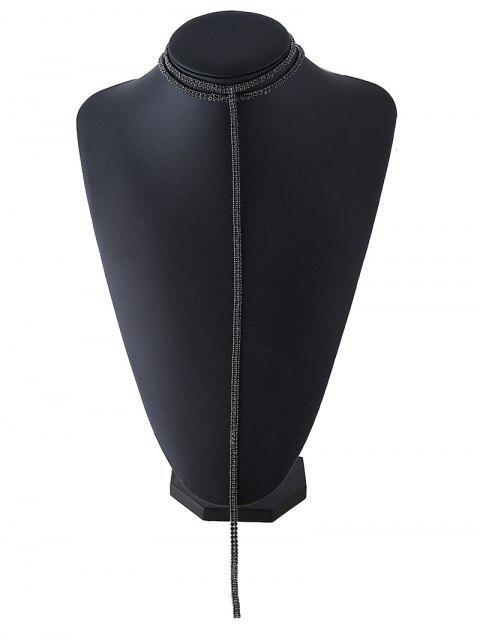 lady Tassel Fake Crystal Choker Necklace - BLACK  Mobile