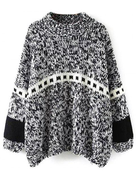 women Batwing Sleeve Heathered Mock Neck Sweater - BLACK ONE SIZE Mobile
