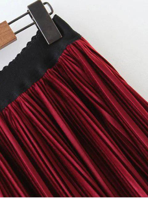 best Pleated Velvet Maxi A Line Skirt - BLACK M Mobile