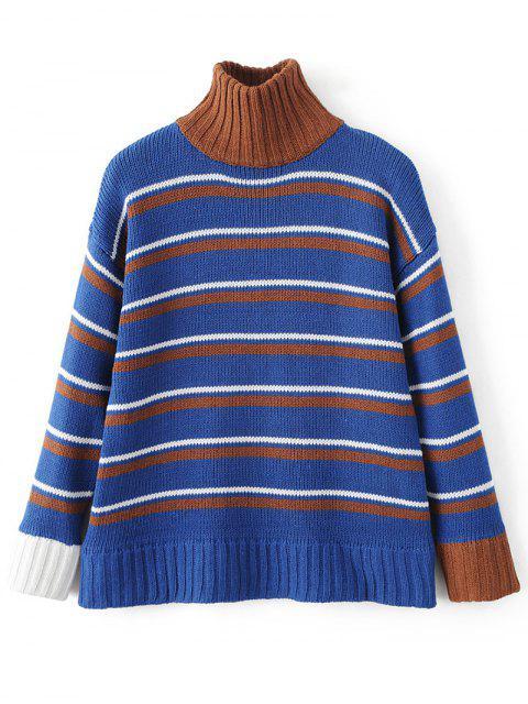 women's Turtleneck Stripe Chunky Sweater - BLUE ONE SIZE Mobile