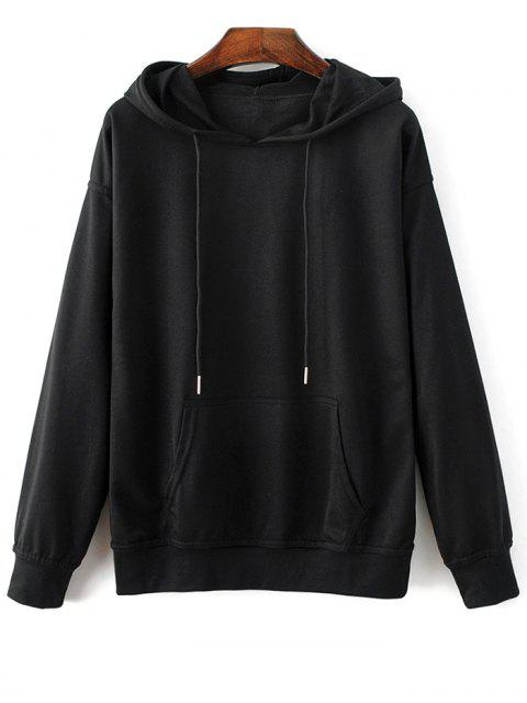affordable Casual Bat-Wing Sleeve Hoodie - BLACK L Mobile