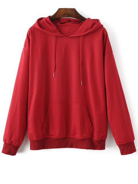 women's Casual Bat-Wing Sleeve Hoodie - RED L Mobile