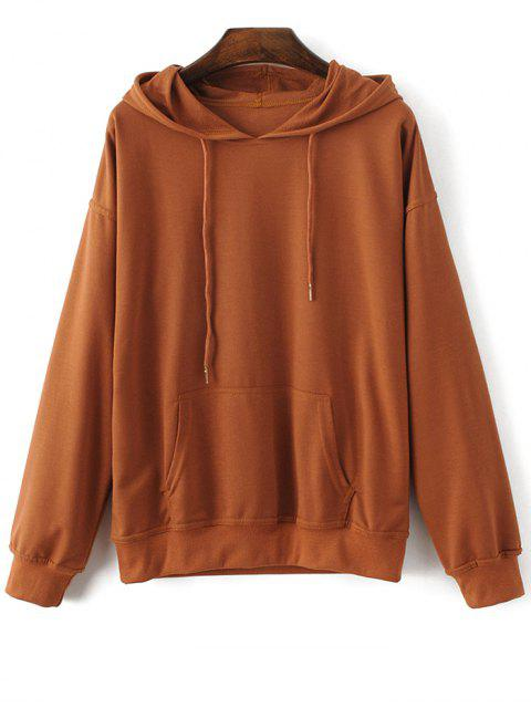 shop Casual Bat-Wing Sleeve Hoodie - BROWN M Mobile
