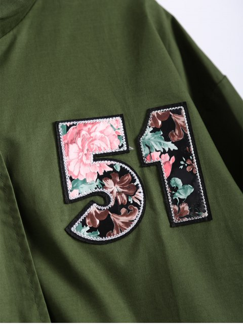 unique Plus Size Number Patch Utility Trench Coat - ARMY GREEN 5XL Mobile