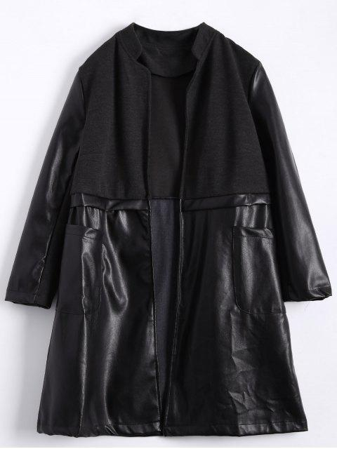 lady PU Leather Panel Plus Size Coat -   Mobile