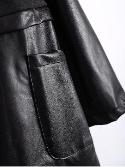 online PU Leather Panel Plus Size Coat - BLACK L Mobile