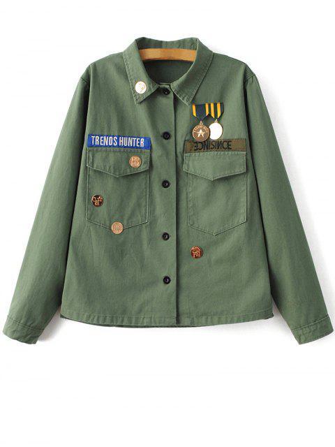 ladies Chevron Shirt Jacket - GREEN S Mobile