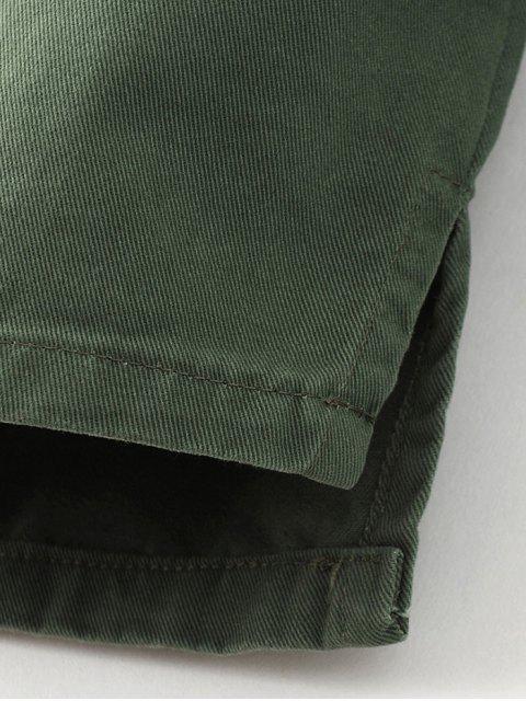 women Chevron Shirt Jacket - GREEN L Mobile