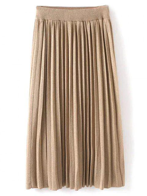 hot Knitted Pleated Maxi Skirt - KHAKI ONE SIZE Mobile