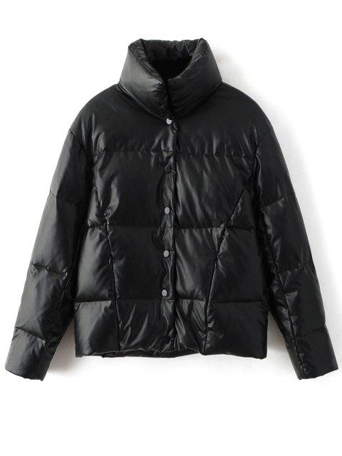 hot Snap Button Quilted Down Jacket - BLACK M Mobile