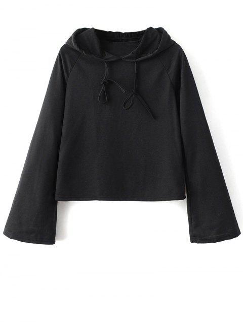 shop Casual Flare Sleeve Hoodie - BLACK S Mobile