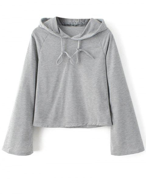 latest Casual Flare Sleeve Hoodie - GRAY L Mobile