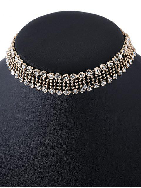 trendy Faux Crystal Beads Choker Necklace - GOLDEN  Mobile