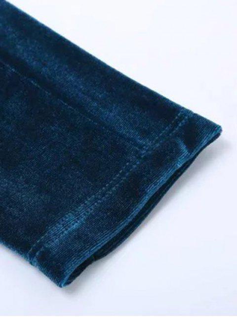 ladies Velvet Narrow Feet Pants - BLACK S Mobile