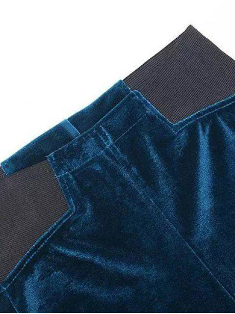 lady Velvet Narrow Feet Pants - DEEP BLUE M Mobile