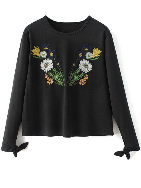 women Bowknot Floral Embroidered Tee - BLACK M Mobile