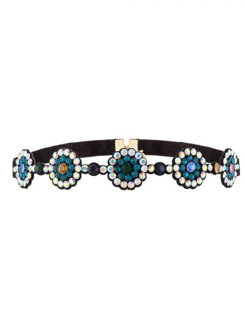 shop Faux Leather Rhinestoned Choker - BLUE  Mobile