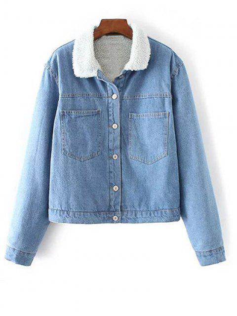 ladies Turndown Collar Faux Shearling Cropped Denim Coat - LIGHT BLUE S Mobile