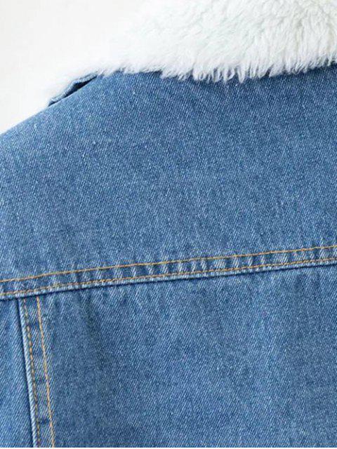 online Faux Shearling Floral Embroidered Jean Coat - DENIM BLUE S Mobile