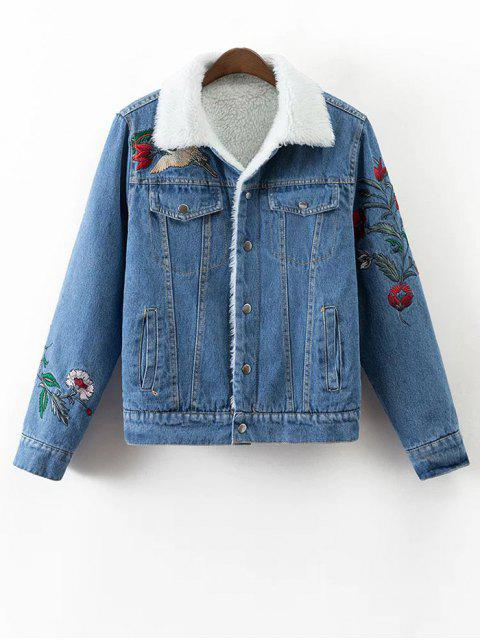 best Faux Shearling Floral Embroidered Jean Coat - DENIM BLUE M Mobile